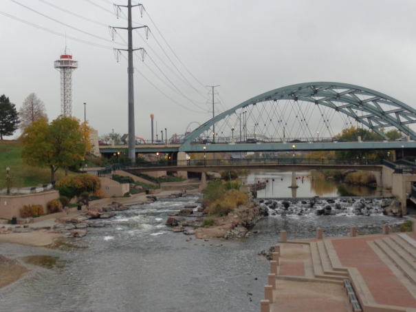 Stairs Leading south Platte rivers edge. confluence park denver